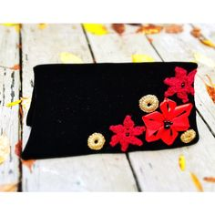 Velvet clutch Upcycled unique handmade bag black fold-over retro... (€44) ❤ liked on Polyvore featuring bags, handbags, clutches, red clutches, velvet purse, crochet flower purse, flower purse and fold over purse