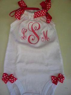 Baby Girls  Monogrammed Romper Onesie with Upper by DaintyBoTeek, $24.00