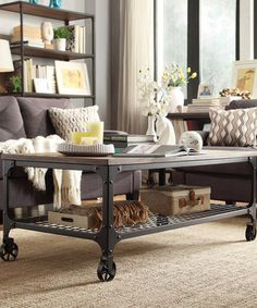 Loving this Bosworth Rustic Wheeled Cocktail Table on #zulily! #zulilyfinds