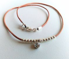 Brown Leather Choker Necklace Thin Choker by SeabeatJewelry
