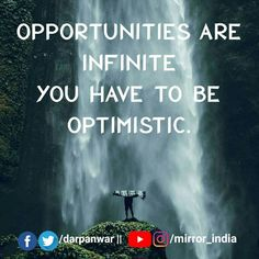 Opportunties are available for everyone, but there only a few who are readily waiting to grab every opportunity. Meanwhile most of  them are just wasting them.  Be optimistic and keep working, you never know which opportunity is coming your way...  Also note, Luck usually helps those who have worked hard for it. - #mirrorindia #indianmirror #india #incredibleindia #motivation #inspiration #motivate #inspire #win #billionaire #millionaire #entrepreneur #business #quotes #hustle #goals #risk