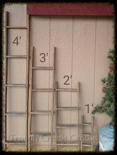 """Our regular tobacco lath ladders showing our 4 standard heights.  They also come in wide width ~ 12"""".  Not only do they look great leaning against a wall, they also look good hanging on a wall either decorated or used as picture frames! Their creative uses are endless!"""