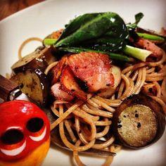 Spelto pasta spaghetti ! #mizumushikun #food #foodie #pasta #spaghetti #yummy #nom #nomnom #foodgram #bacon #spelto #wheat