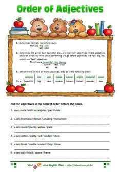 adjectives worksheet - order of adjectives
