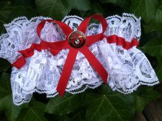 "Bride wore a ""Marine Wife"" garter made by her mom."