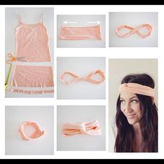 DIY Tshirt Headband ~ no instructionsDIY Tshirt Headband ♥ I'm so doing this!Headband diy i want this! No sewing required on this one, quick and easy.Headband diy i want this! gonna make a lot of these! I used to make these all the time when I was Boho Headband, Turban Headbands, Turban Headband Tutorial, Hair Turban, Knotted Headband, Twist Headband, Diy Vetement, Diy Hair Accessories, Fashion Accessories