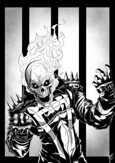 Since my ghost rider speed ink went over so well and was liked and viewed a lot I decided to give the rider the detailed treatment he deserves lol! Ghost Rider: Spirit of Vengence Marvel Art, Marvel Heroes, Marvel Characters, Ms Marvel, Captain Marvel, Ghost Rider Johnny Blaze, Ghost Rider Marvel, Comic Books Art, Comic Art