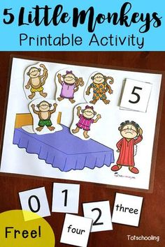 FREE 5 Little Monkeys activity for counting, learning numbers and number words. Great for toddlers, preschoolers and kin Rhyming Activities, Preschool Songs, Preschool Learning, Preschool Activities, Nursery Rhymes Preschool, Toddler Preschool, Nursery Activities, Nursery Rhymes For Toddlers, Counting For Toddlers
