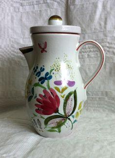 Stig Lindberg Gustavsberg Sweden. Pot with handle and lid Floral design in…
