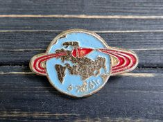 Soviet spaceship pin Enamel badge Cosmos Space rocket pin Astronautics Cosmonautics USSR space explo