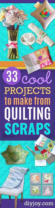 Best Quilting and Fabric Scraps Projects - Easy Ideas for Making DIY Home Decor, Homemade Gifts, Wal Scrap Fabric Projects, Fabric Scraps, Quilting Projects, Sewing Projects, Sewing Ideas, Art Projects, Diy Kitchen Accessories, Baby Accessories, Baby Gifts To Make