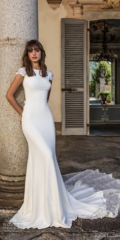 pinella passaro 2018 bridal cap sleeves bateau neck simple clean elegant classy fit and flare sheath wedding dress keyhole back chapel train (12) mv -- Pinella Passaro 2018 Wedding Dresses #weddinggowns