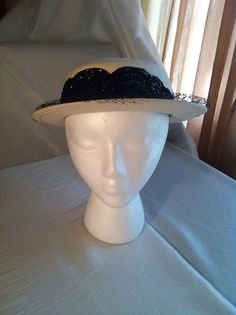 White Felt Breton with Black Sequin and Netting detail by tonya freeman, from the Nelda Parrish Hat Collection (CT-A)