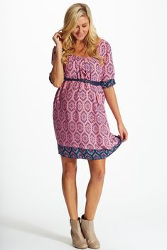 b2d758b8699 Pink Multi-Colored Aztec Print Belted Maternity Dress