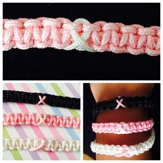 Macrame adjustable breast cancer awareness bracelets hand made with nylon cord. each bracelet has either a pink ribbon with a white or black band or a white ribbon on a pink band.  For a bulk discount message me or if you would like to order multiple quantities please message me so I can create a separate listing so you can save on shipping