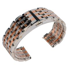 22/20mm Stainless Steel Bracelet Silver and Rose Gold Solid Link Wrist Band Watch Strap Hidden Clasp Luxury   2 Spring Bars