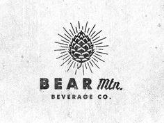 BEar Mountain, Beverage Company, Pine Cone, Rays, Mark, Logo, Grunge, Illustration