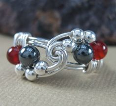 Wire Wrapped Ring Sterling Silver Hematite and by holmescraft, $24.00
