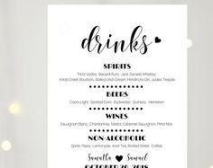 Printable Wedding Bar Menu Template Wedding Bar Sign Signature
