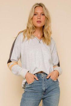 Soft Fleece Pullover Hoodie 70% Polyester 30% Cotton V Neck Contrasting Sleeve Stripe Raw Edge Hem In Stock
