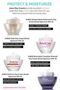 Anew Day Creams provide hydration while they help protect your skin from UV rays which are present even on cloudy days.