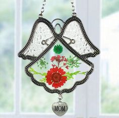 Mom Angel Suncatcher Silver Metal & Glass with Pressed Flower Wings & Hanging Heart Shaped Charm - 4.5 Inch