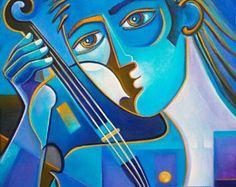 Cubismo arte pintura al óleo Original sobre lienzo abstracto arte violinista azul estilo moderno contemporáneo Galería Picasso de Marlina Vera