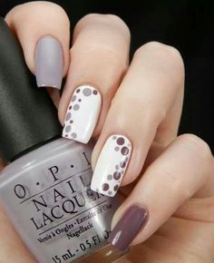 Gray plum and white nail polish combination. Design your nails with white and pl The post Gray plum and white nail polish combination. Design your nails with white and pl appeared first on Nageldesign. Fall Nail Art Designs, Nail Polish Designs, Tan Nail Designs, Classy Nail Designs, Pretty Designs, Simple Designs, Nail Polish Combinations, Grey Nail Art, Grey Art