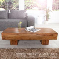 Exklusiver Massiver Couchtisch MAKASSAR Sheesham 120 cm edler Massiv Holz Tisch