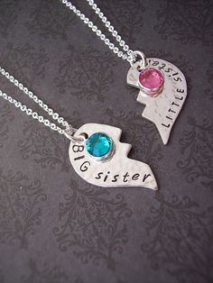 Custom BIG sister and LITTLE Sister or Best Friends set of 2 necklaces in sterling silver.