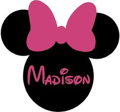 Minnie Mouse Ears Name PERSONALIZED 26x24  Vinyl Wall Lettering Words Quotes Decals Art Custom. $34.95, via Etsy.
