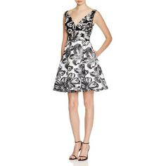 Vera Wang V-Neck Floral Jacquard Dress (410 CAD) ❤ liked on Polyvore featuring dresses, jacquard dress, floral jacquard dress, v neck dress, wet look dress and v neck fit and flare dress