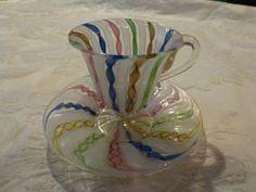 Venetian Latticiano Ribbon Glass Demitasse Cup & Saucer