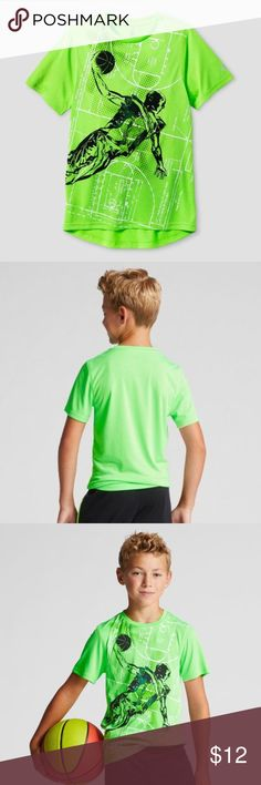 New CHAMPION Boys' Basketball Graphic Tech T-Shirt The Boys' Graphic Tech T-Shirt from C9 Champion helps keep you cool with wicking fabric that dries fast and protects from UV rays.   size XS (4-5) new without tags *faint spots on back from storage should come out in 1st wash color: Forging Green Heather (neon green)  @cjrose25  More kids clothes in my posh closet. Bundle your likes for a discount & save on shipping. Champion Shirts & Tops Tees - Short Sleeve