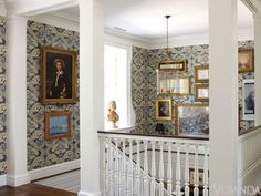 Stairwell in blue and cream with gold framed artwork, a large lantern and detailed millwork - Boxwood house after its renovation by G. Schafer, Architect and David Netto Design Home Interior Design, Interior Decorating, Modern Interior, Decorating Ideas, Decor Ideas, Large Lanterns, English House, Entry Hall, Staircase Design