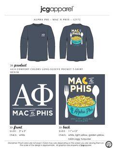 JCG Apparel : Custom Printed Apparel : Alpha Phi Mac N Phis T-Shirt #alphaphi #ap #macnphis #macncheese #handdrawn #philanthropy