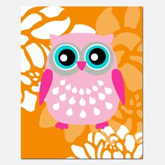 Modern Nursery Art - Floral Owl - 11x14 Print - Pick Your Colors - Orange, Pink, Aqua, and More. $25.00, via Etsy.