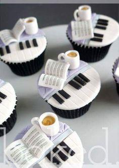 Music and coffee :) Cupcakes - so cute Cupcakes Design, Cake Designs, Piano Cakes, Music Cakes, Yummy Cupcakes, Cupcake Cookies, Cupcake Toppers, Bolo Musical, Petit Cake
