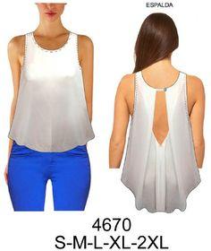4670 Blusa sin mangas semi-evase, espalda con pliegue en escote. Telas: Gasa, Seda. Consumo talla L: 1.15 mts. Aprox.
