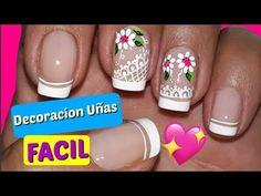 Decoración de Uñas Principiantes/Decoración de uñas FÁCIL - YouTube Floral Nail Art, Toe Nails, Nail Designs, Nail Polish, Beauty, Google, Youtube, Designed Nails, Work Nails