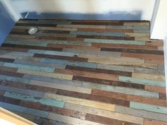 New distressed wood tile floor being used at the Bourbon Chateau in Norton Commons. A bed-and-breakfast Meridian Construction is currently building now. Soon to be open.  #nofilter
