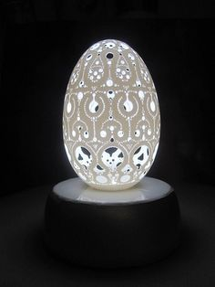 Carved goose egg---Curlicue, via Flickr.