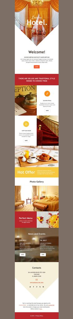 Hotels Responsive Newsletter Template - Email Marketing - Start your email marketing Now. Newsletter Layout, Email Layout, Email Newsletter Design, Email Newsletters, Newsletter Ideas, Email Template Design, Email Templates, Newsletter Templates, Web Design