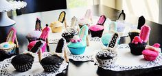 High Heel Cupcakes - cupcakes with pretty liners, graham crackers, candy melts, frosting, sprinkles or other decorative items, pirouette cookies