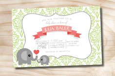 DAMASK ELEPHANT Banner Custom Baby Shower by PaperHeartCompany