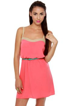 Cute Coral Belted Dress