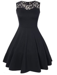 ZAFUL Women Vintage Party Dress Sleeveless Lace A Line Swing Skater Dress Vestidos Cotton Audrey Rockabilly Black Dresses Grad Dresses, Homecoming Dresses, Casual Dresses, Short Dresses, Fashion Dresses, Prom Dress, Skater Dresses, Dress Party, Pretty Dresses