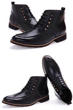 - Stylish mid-top casual dress boots for the modern man - Rivets provide an edgy look - Comfortable breathable upper - Made from PU - Available in 3 colors
