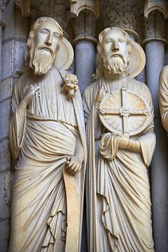 North Porch, Central Portal, right Jambs- General View c. 1194-1230. Cathedral of Chartres, France . Gothic statues of figures of, from left Isaiah and Jeremiah. A UNESCO World Heritage Site. | Photos Gallery