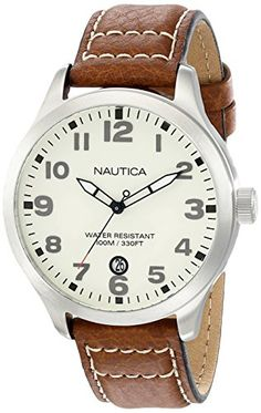 Nautica Men's N09560G BFD 101 Stainless Steel Watch with Brown Leather Band #deals